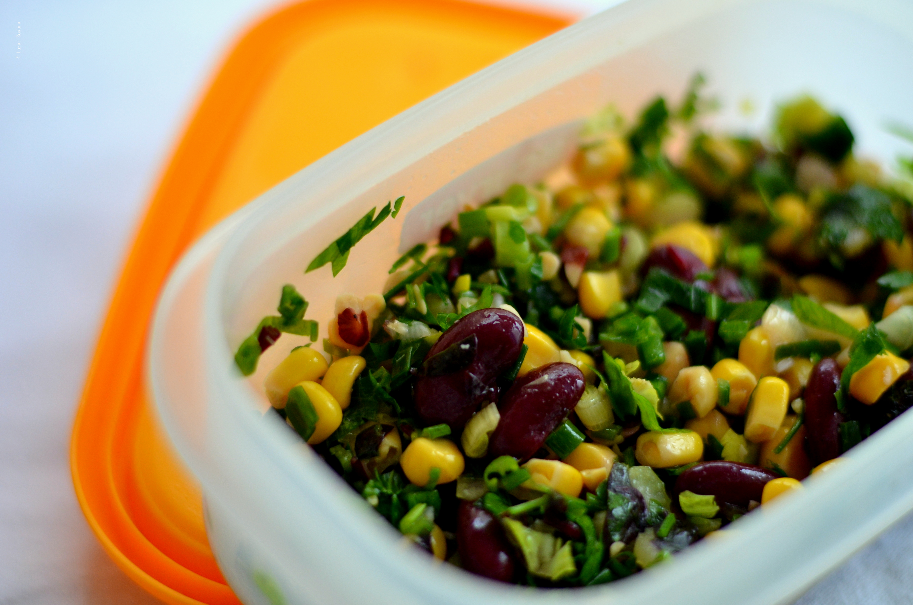 Caserola de serviciu: salata de fasole, porumb si verdeturi de primavara