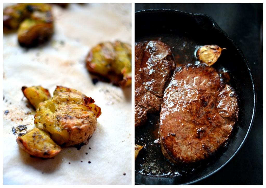 Antricot la tigaie, cartofi noi la cuptor si pastai in sos alb